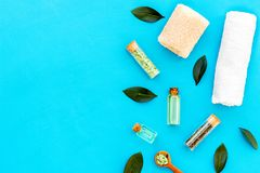 Tea tree spa composition. Fresh tea tree leaves, natural cosmetics, towel on blue background top view space for text stock photo