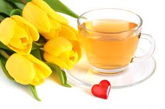 Tea, tulips and red heart Royalty Free Stock Image