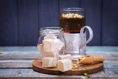 Tea with turkish delight Stock Image