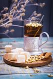 Tea with turkish delight Royalty Free Stock Photography