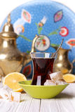 Tea with Turkish Delight and lemon Royalty Free Stock Photos