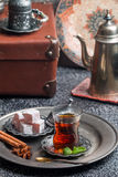 Tea and turkish delight Royalty Free Stock Image