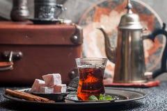 Tea and turkish delight Royalty Free Stock Photo