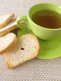 Tea and twice baked crisp bread Stock Photos