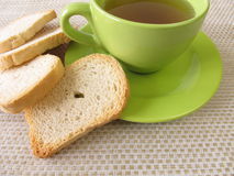Tea and twice baked crisp bread Stock Image