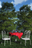 Tea for two. This image shows a place in nature to make teatime vector illustration