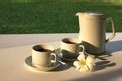 Tea For Two. A pot of tea and cups with a frangipani flower laid out for two in an outdoor garden setting royalty free stock photo
