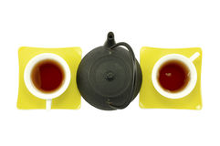 Tea for two, male-female organised. Teapot and two cups, organised as male-female Stock Image