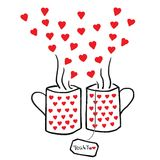 Tea For Two With Red Hearts Stock Image