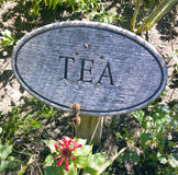 Tea for Two. Wood sign with engraved lettering marking tea plant growing in a flower garden royalty free stock photos
