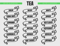 Tea types icons. Tea menu icon set. Beverages types of tea. Vector engraving ribbons illustration isolated on white background. Hand drawn design label Royalty Free Stock Photo