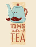 Tea typographic vintage style grunge poster with funny teapot character. Retro vector illustration. Stock Image