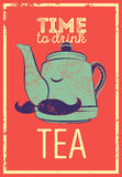 Tea typographic vintage style grunge poster with funny teapot character. Retro vector illustration. Stock Photo