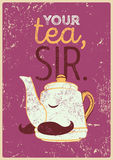 Tea typographic vintage style grunge poster with funny teapot character. Retro vector illustration. Royalty Free Stock Images