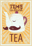 Tea typographic vintage style grunge poster with funny teapot character. Retro vector illustration. Stock Photos