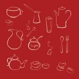 Tea utensil. Vector illustraition of kitchen utensil Design Set made with simple line only vector illustration