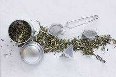 Tea Utensils And Tea Leaves Stock Photo