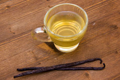 Tea vanilla on wood from above Royalty Free Stock Images