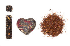 Tea variation. I love tea. I love rooibos herbal tea. Traditional tea sorts. Black earl grey, green japanese and rooibos tea isolated on white background. I stock image