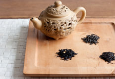 Tea varieties and a teapot Royalty Free Stock Images