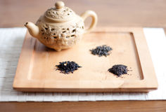 Tea varieties and a teapot Stock Photography