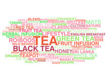 Tea variety. Word cloud concept Stock Images
