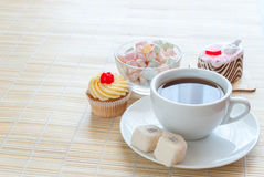 Tea and various cake Stock Images