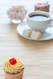 Tea and various cake, sweet dessert Stock Photos