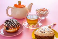 Tea and various sweet dessert Stock Photos