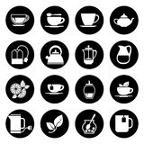 Tea vector icons set in black and white Royalty Free Stock Photography
