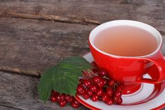 Tea with viburnum berries on old wooden Royalty Free Stock Image