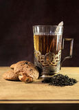 Tea in vintage Cup and cookies Stock Images