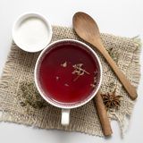 Tea in vintage cup on wooden table Royalty Free Stock Photography