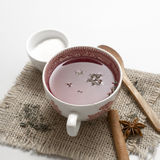 Tea in vintage cup on wooden table Royalty Free Stock Photo