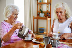 Tea visit elderly Stock Photos