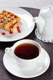 Tea and waffles Royalty Free Stock Photography