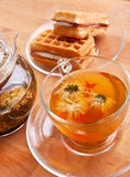 Tea with waffles Stock Photography