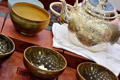 Tea ware. Set of tea wear in luxury and traditional style, shown as traditional tea culture Stock Image