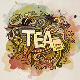 Tea watercolor cartoon hand lettering and doodles Royalty Free Stock Photos