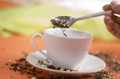 Tea with white cup Stock Photo