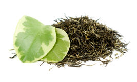 Tea. White tea leaves isolated on black Stock Photography