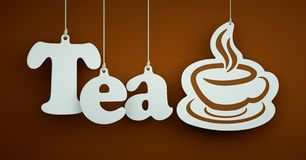 Tea - White Letters Hanging on the Ropes Royalty Free Stock Photo