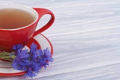 Tea with Wild cornflower petals Royalty Free Stock Photo