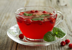 Tea with wild strawberry Stock Images