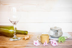 Tea with wine on a wooden floor. concept of beverages Royalty Free Stock Photos