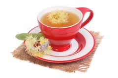 Free Tea With A Linden In A Red Cup On A Napkin Isolated Royalty Free Stock Photos - 32154858