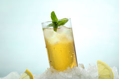 Tea With Lemon And Ice In A Glass Royalty Free Stock Photos