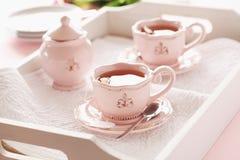 Tea on wooden tray Royalty Free Stock Photos