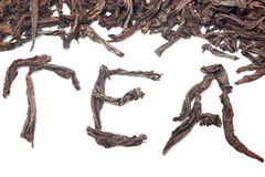 Tea word with leaves Royalty Free Stock Image