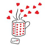Tea For You With Red Hearts Royalty Free Stock Image
